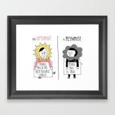 Optimist Vs Pessimist Framed Art Print
