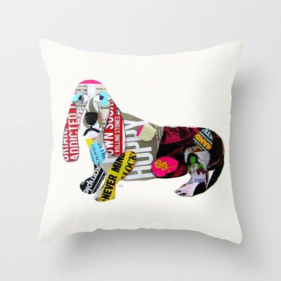 dachshund graffiti Throw Pillow