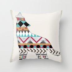Wild Soul - Aztec Navajo Wolf Throw Pillow