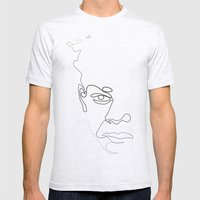 Half-a-Basquiat: One line Mens Fitted Tee Ash Grey SMALL