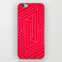 Modern minimal Line Art / Geometric Optical Illusion - Red Version  iPhone & iPod Skin