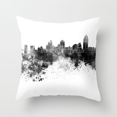 Cincinnati skyline in black watercolor Throw Pillow