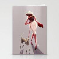 50s dogwalker  Stationery Cards