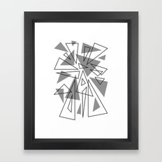 Gray And White Triangles Framed Art Print