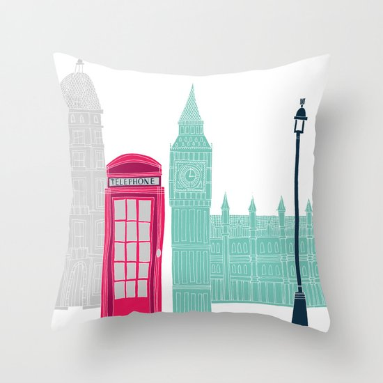 London Red Telephone Box (pink) Throw Pillow