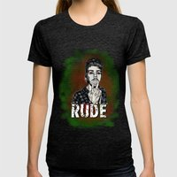 Rude Womens Fitted Tee Tri-Black SMALL