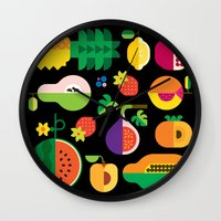 Fruit Medley Black Wall Clock
