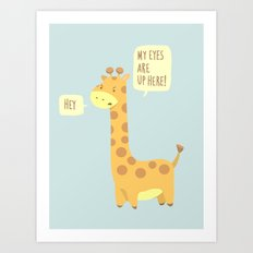Giraffe problems! - Baby Blue version Art Print