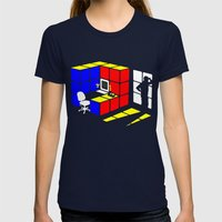 Rubix Cubicle Womens Fitted Tee Navy SMALL