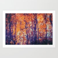 Autumn Woods Painterly Abstract Water Color FX Art Print
