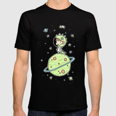 Space Dinosaur SMALL Mens Fitted Tee Black
