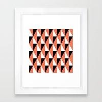 Salmon & black triangle mid-century pattern Framed Art Print