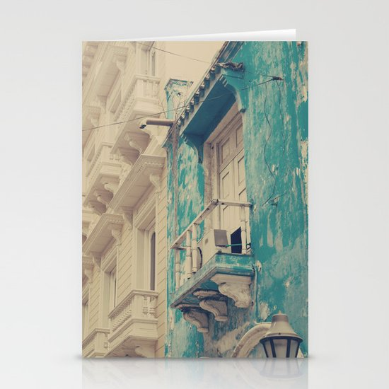 Grunge Summer Town (Retro and Vintage Urban, architecture photography, blue and cream) Stationery Card
