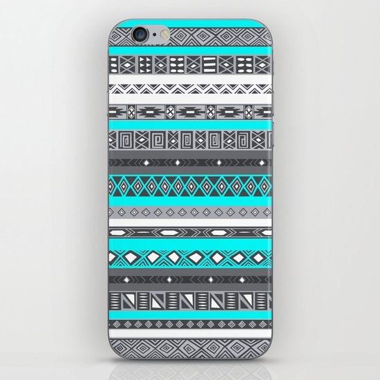 Ice Mint Blue Grey Aztec Pattern iPhone iPhone & iPod Skin