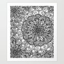 Shades of Grey - mono floral doodle Art Print