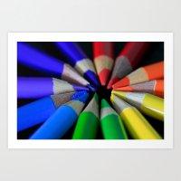 Multi Color Pencils Art Print