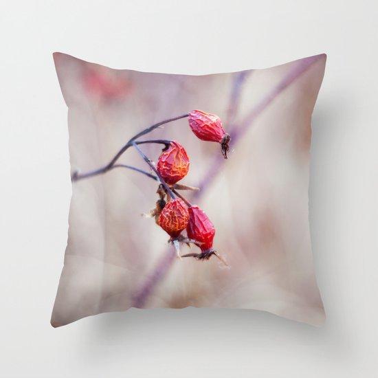 Rose Hips Throw Pillow