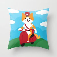 Postcat Throw Pillow