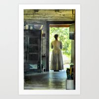 Woman at the Cabin Door Art Print