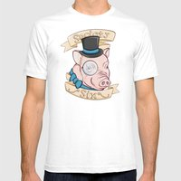 Gentleman Pig (S6 Tee) Mens Fitted Tee White SMALL