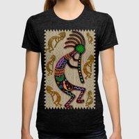Kokopelli Rainbow Colors on Tribal Pattern  Womens Fitted Tee Tri-Black SMALL