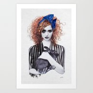 Miss Emma & Her Bunny Art Print