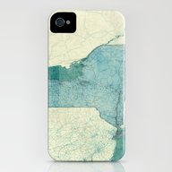 New York Map Blue Vintag… iPhone (4, 4s) Slim Case
