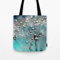 Ocean Blue  and White Dandy Drops Tote Bag
