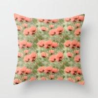 Pink Poppies patterns Throw Pillow