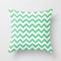 Funky Chevron Mint Patte… Throw Pillow