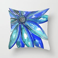 Blue Watercolor flower Throw Pillow