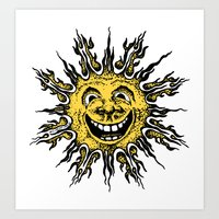 sun face - original yellow Art Print