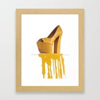 Dripping Yellow Shoe Framed Art Print