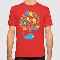 Colorful Swirls Happy Cartoon Whale Mens Fitted Tee Red SMALL
