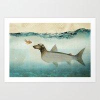 Dog Fish Art Print