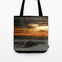 Winter Shorebreak At Sun… Tote Bag