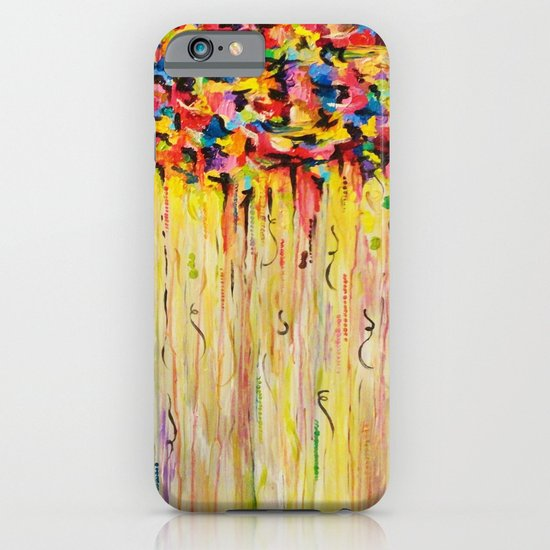 OPPOSITES LOVE Raining Sunshine - Bold Bright Sunny Colorful Rain Storm Abstract Acrylic Painting iPhone & iPod Case