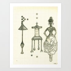 Lamp Chair Woman Art Print