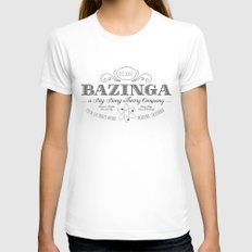 Bazinga Vintage Womens Fitted Tee White SMALL