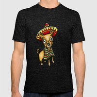 Mexican Chihuahua In Bro… Mens Fitted Tee Tri-Black SMALL