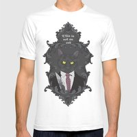 American Psycho Kitty Mens Fitted Tee White SMALL