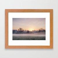 Sunrise and mist on a frosty morning. Norfolk, UK. Framed Art Print
