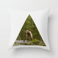 Log Bear Throw Pillow