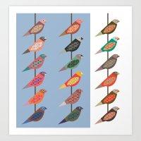 Fun Finches Art Print