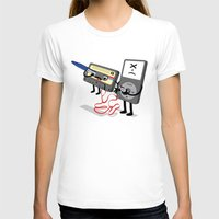 Killer Ipod Clipart (Murder of Retro Cassette Tape) Womens Fitted Tee White SMALL