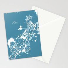Turq Skull n Finch Stationery Cards