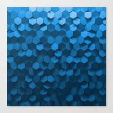 Blue hexagon abstract pattern Canvas Print