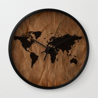 Old Wrinkled World Map Wall Clock