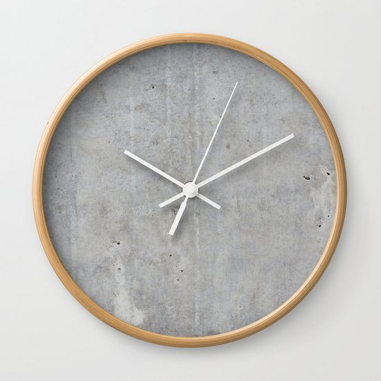 Concrete Wall Clock By Patterns And Textures Society6