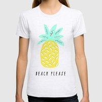 BEACH PLEASE Womens Fitted Tee Ash Grey SMALL